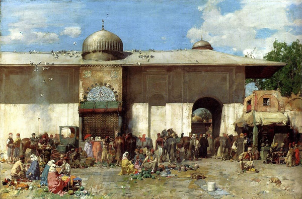 Constantinople Market Scene, painting by Alberto Pasini, late 1800's