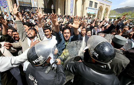 Afghans counter-protesting a protest by Afghan women,  April 16, 2009
