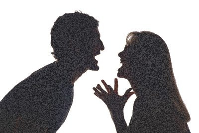 sillhouette image of two people arguing intensely